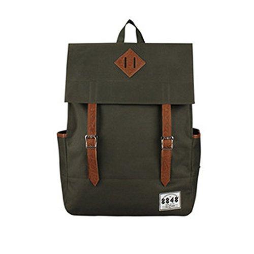 YAAGLE Rucksack Damen und Herren Unisex schick mit Deckel Schultertasche Schulrucksack Laptoptasche-armee-grün