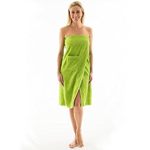 aqua-textil Wellness Saunakilt Damen 90 x 150 cm grün Baumwolle Saunasarong Frottee Kilt Langer Schnitt