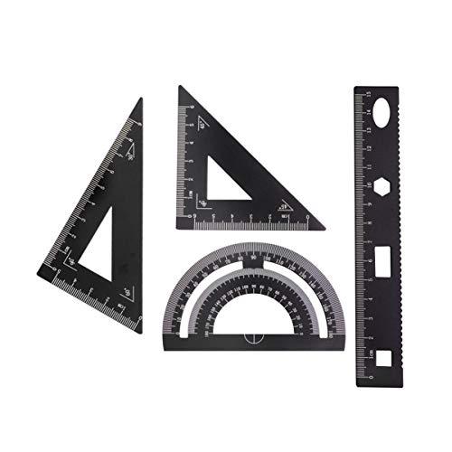 EXCEART 定規 多形定規セット 金属 製図用 DIY オフィス 三角板 学校教育 建築科用 透明幾何図面ルーラー 測定物差し 4ピース