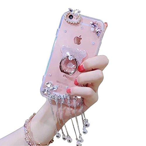 LCHDA Samsung Galaxy A40 Fingerhalterung Diamant Hülle,Handyhülle Samsung Galaxy A40 Glitzer Strass Bling Bling Ring Halter Case Glänzend Bär Durchsichtig Kristall Steine Silikon Schutzhülle