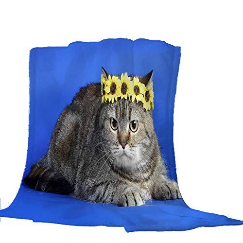Bedsure Mantas para Sofás de Franela Gato Azul de Lujo de Grande Tamaño Manta Manta de Lana para sofá y Cama de 180x200cm