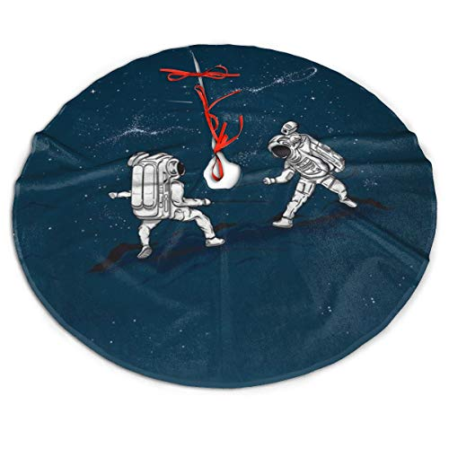 The Astronauts Fencing in Space Merry Christmas Tree Skirt Party Decor Tree Xmas Ornaments 3 Size