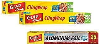 Glad Cling Wrap 2-Piece  200 Sq. Ft.   Aluminum Foil Free 25 Sq Ft
