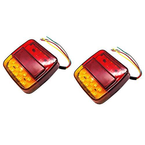 AEUWIER 2 luces traseras LED de 12 V, señal de giro a prueba de agua y luz de freno de marcha atrás para estacionamiento, licencia para coche, camión, caravana, furgoneta, barco, ámbar rojo