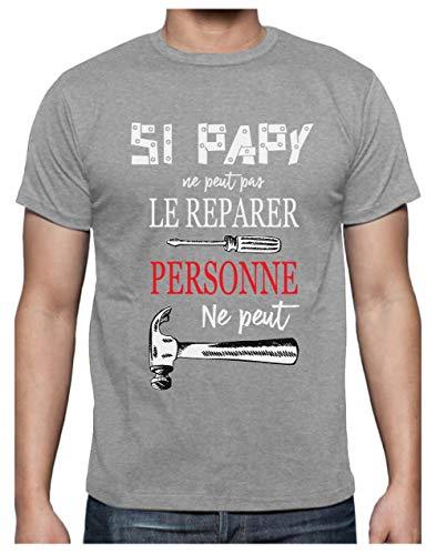 Papy Peut Tout réparer Cadeau pour Bricoleur Grand Pere Humour T-Shirt Homme X-Large Gris Chiné