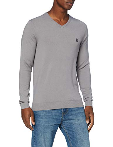 OxbOw M2PREVIO Pull col V Homme, Grey, FR : L (Taille Fabricant : L)