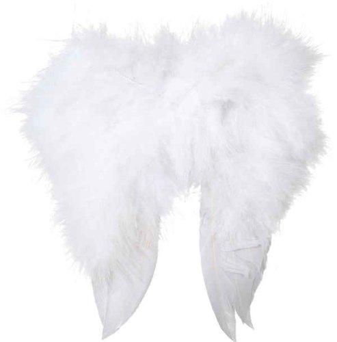 Weihnachtszubehör: Mini-Federflügel (ca. 16 x 16 cm) weiß
