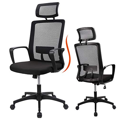 Ergonomic Office Chair High Back Adjustable Height Rolling Swivel Computer Task Chair Reclining Breathable High-Density Mesh Desk Chair with Flip-Up Armrest Rotate Headrest Back Support,Black(300lbs) (8953)