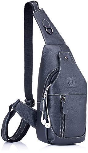 Genuine Leather Sling Bag,Full Grain Leather Casual Crossbody Shoulder Chest Bag Travel Hiking...