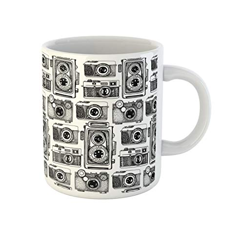 Awowee Coffee Mug Pattern Vintage Cameras Beautiful Photography Addiction Body Digital Drawing 11 Oz Ceramic Tea Cup Mugs Best Gift Or Souvenir For Family Friends Coworkers