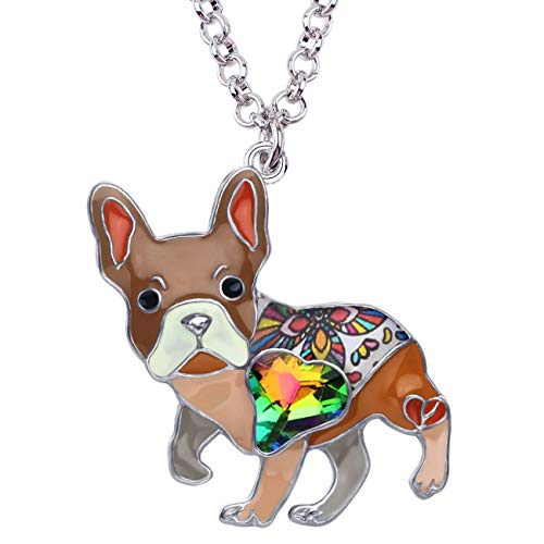 DOWAY Rhinestone French Bulldog Necklace Pendant Enamel Pet Doggy Accerssories Gifts (Brown)