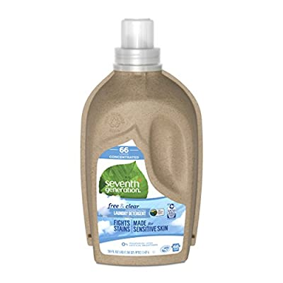 Seventh Generation Concentrated Laundry Detergent, Free and Clear Unscented, 66 loads, 50 Fl Oz (Packaging May Vary)