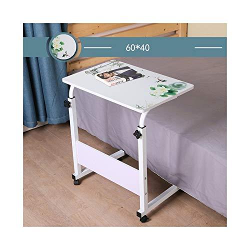 Pflegetisch Overbed Tisch, Höhenverstellbar PC-Computer-Schreibtisch-Bett Sofa Side End Snack Tisch Auf Rädern Mobile Auslesung Tabelle Beistelltisch Notebooktisch ( Color : Landscape water 60x40cm )