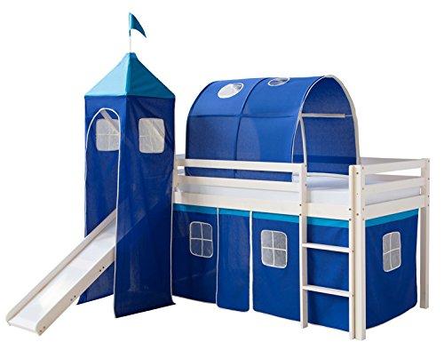 PEGANE Lit Enfant superposé en pin Massif + Toboggan, Tour et Tunnel Blanc/Bleu