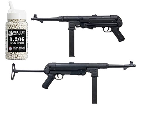 Double Eagle Softair Federdruck Gewehr MP40 Stil, 0.5 Joules, Gratis Bulldog Airsoft 2000 0.20g BBS