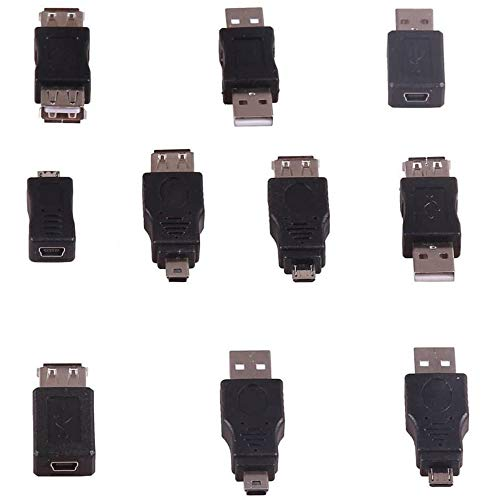 POFET OTG 5 pines F/M cambiador adaptador convertidor USB macho a hembra micro mini enchufe para computadora, tableta, PC, teléfono móvil
