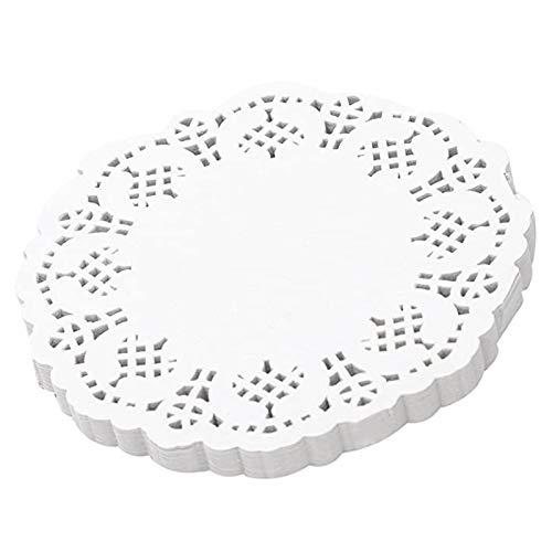SODIAL Napperons en Dentelle Papier 100 PièCes SéRies, Napperons Ronds DéCoratifs de 4,5 Pouces, Doublures pour Gateau, Desserts Cuits au Four