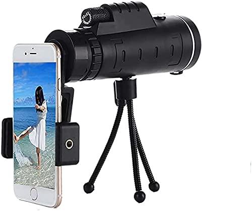 FAWFDF Telescopio monocular 40X61 Telescopio para teléfono móvil Monocular con Soporte para Smartphone y trípode para observación de Aves