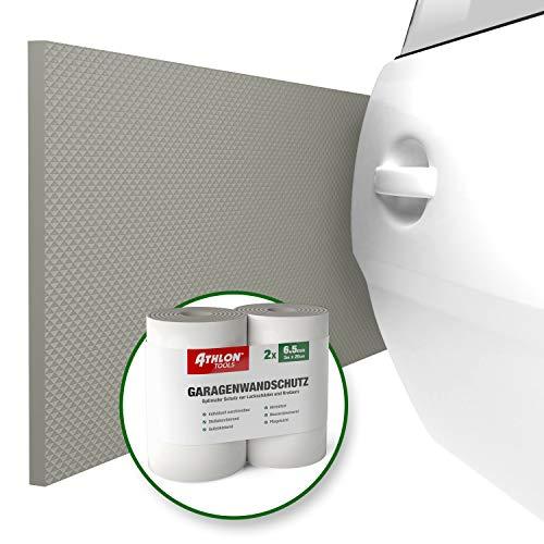 ATHLON TOOLS Premium Garagen-Wandschutz | je 2 m lang | Extra Dicker Auto Türkantenschutz | Selbstklebend | Wasserabweisend | 2er Set (Grau)