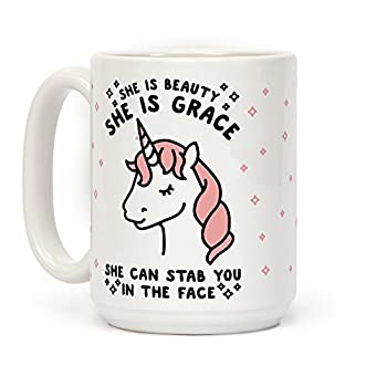 LookHUMAN She Is Beauty She Is Grace She Can Stab You In The Face White 15 Ounce Ceramic Coffee Mug