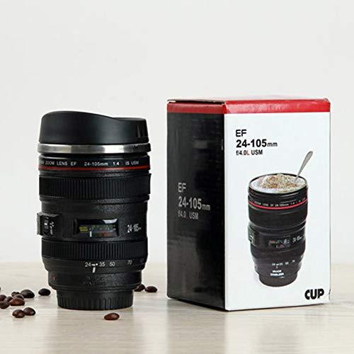 Surenhap Kaffeebecher, Kamera Lens Design Kaffeetasse 400 ml Kreative Objektiv Trinkbecher (Schwarz)