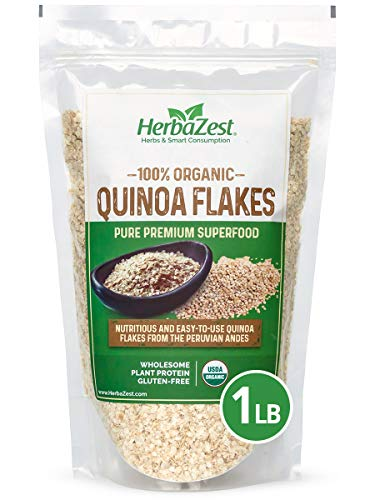 Quinoa Flakes Organic - Nutrient Rich Superfood - Complete Protein Source - Vegan, Gluten Free & USDA Certified - 16oz (454g) - Easy to Use with Yogurt, Cereal, Granola, Baked & Non-Baked Goods