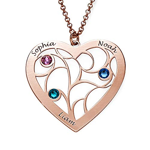 Heart Shaped Family Tree Necklace - Silver, Yellow or Rose Gold