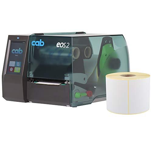 Labelident Starterset - Cab EOS2 Etikettendrucker mit Abreißkante inkl. 4800 Etiketten (102 x 152 mm) auf 12 Rollen, 300 dpi - Thermotransfer- und Thermodirektdruck