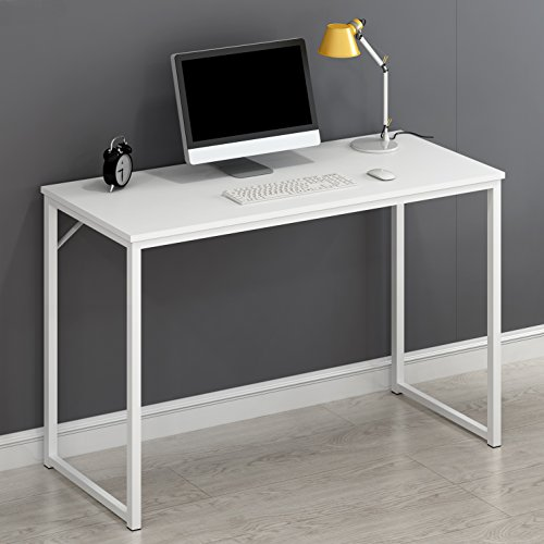 Cherry Tree Furniture Modern Compact Desk Table Computer Workstation PC Table 120 X 76 X 45 CM (White)