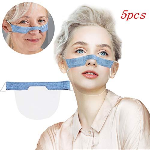 Mini Face Cover Washable Transparente Mundschutz Wiederverwendbare Komfort Gesichtsschutz Gummiband Visuelle Maske Schutzhülle Atmungsaktive Halstuch Multifunktionstuch (E-5pcs-Blau)