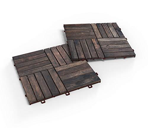 Interbuild Camp 20 - Baldosas de madera de acacia para balconas y terrazas -30 x 30 cm - 0,9 m2 por PACK - 10 en total sq. Pies