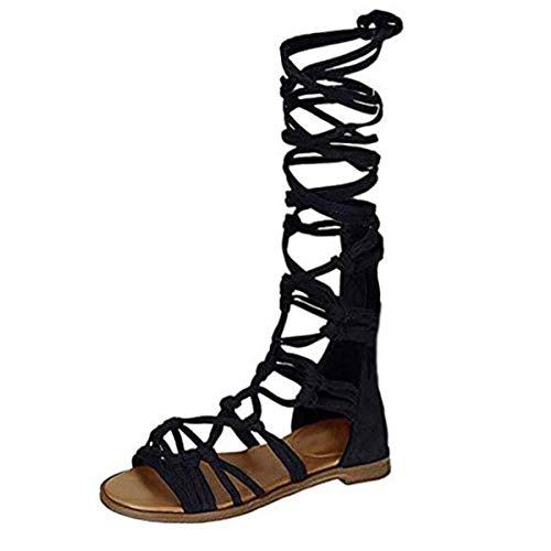 ZhengYue Sandalen Damen,Schuhe Hohe Stiefel Shoes Schuh Böhmen Sommerschuhe Sandaletten Geflochten Frauen Sommer Offene Flach Badesandalette Reißverschluss Elegante Strandschuhe Schwarz 40