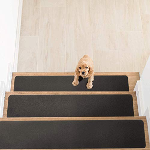 Delxo 14 Pack Non Slip Carpet Stair Treads Rug Non Skid Runner for Grip and Beauty. Safety Slip Resistant for Kids, Elders, and Dogs,Pre Applied Adhesive .6''x30'' (Grey)