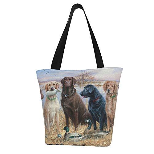 Duck Hunting Labrador Retrievers Women'S Large Size Canvas Shoulder Bag Hobo Crossbody Handbag Casual Tote