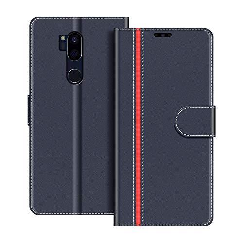 COODIO Handyhülle für LG G7 ThinQ Handy Hülle, LG G7 ThinQ Hülle Leder Handytasche für LG G7 ThinQ Klapphülle Tasche, Dunkel Blau/Rot
