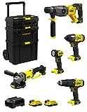 STANLEY FatMax Kit SVK500 (SFMCH900 + SFMCG400 + SFMCD711 + SFMCF800 + SFMCL020 + 2 Batterie 2,0 Ah + Caricabatteria + Caddy 3in1)