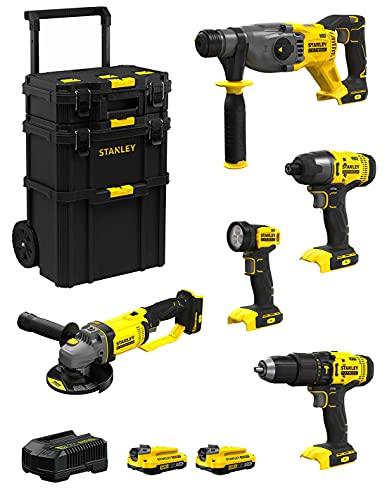 STANLEY FatMax Kit SVK500 (SFMCH900 + SFMCG400 + SFMCD711 + SFMCF800 + SFMCL020 + 2 Baterías de 2,0 Ah + Cargador + Carro 3en1)
