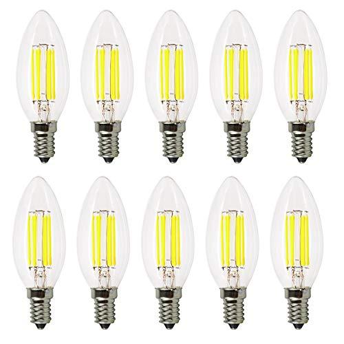 YQXR led bombillas Lámpara LED tipo vela, E12 6W Reemplazo equivalente Lámpara halógena de 60W CA 110-130V Luz LED COB vintage Adecuado para pub, exposición, uso en la oficina o en el hogar, etc. Pack