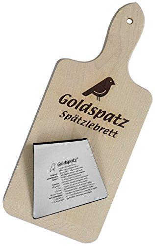 Goldspatz Spätzlebrett inkl. Edelstahl-Schaber (Besonderheit: Spätzle-Rezept eingraviert!)