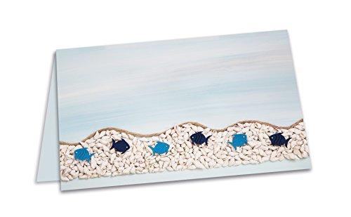 25 tarjetas de mesa azules marítimas con peces y conchas para la comunión, el bautizo o para sus fiestas de playa, calidad 1a.