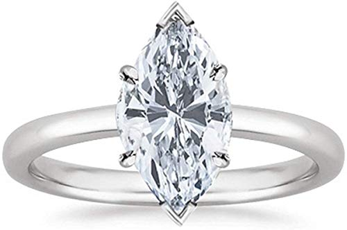 1.00 Carat Solitaire Marquise Cut Natural Diamond 14K Gold Engagement Ring Band Wedding Ring Certified Hallmarked Anniversary Ring for Women Gift for Her (Color HI, Clarity I1/I2) (White Gold)