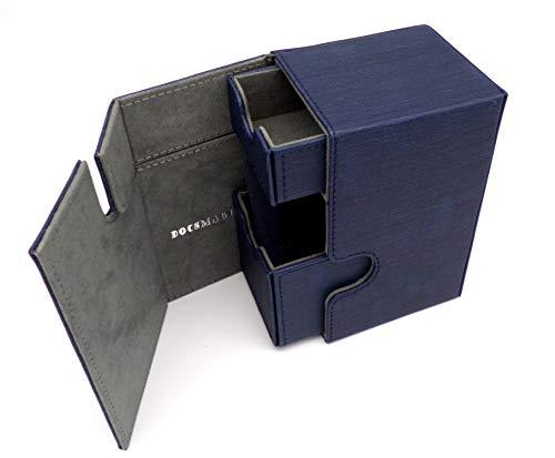docsmagic.de Premium Magnetic Tray Box (80) Blue + Deck Divider - MTG PKM YGO - Kartenbox Blau