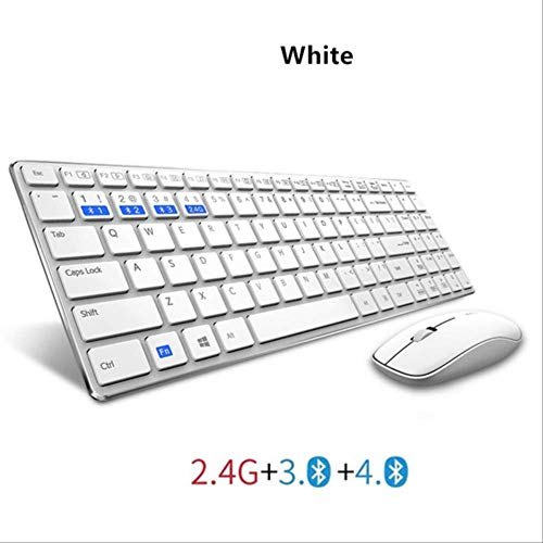 Baibao - Ratón y teclado - Teclado de chocolate sin hilos - Teclado inalámbrico - Ratón inalámbrico - Color blanco