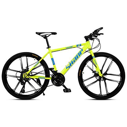 Bicicleta De Montaña, Bicicleta De 26 Pulgadas De Doble Speed 24 Del Freno De Disco Completo De Suspensión 4 Speed Variables Están Disponibles, Adulto De Bicicletas De Montaña,Amarillo,27 speed