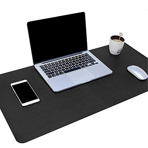 PU Leather Desk Mat Portable Game Keyboard Mouse Pad Protector for Office Home (Black, 39.4x19.7in)