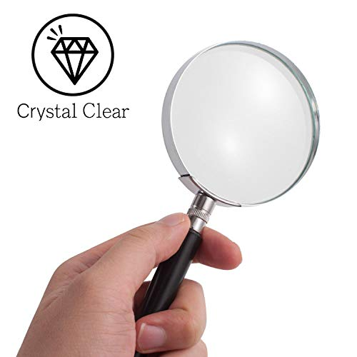 """Price comparison product image Insten Magnifying Glass 5X,  Crystal Clear 3"""" Lens Handheld Magnifier for Book,  Maps,  Classroom Science,  Insect & Hobby,  Seniors and Kids"""