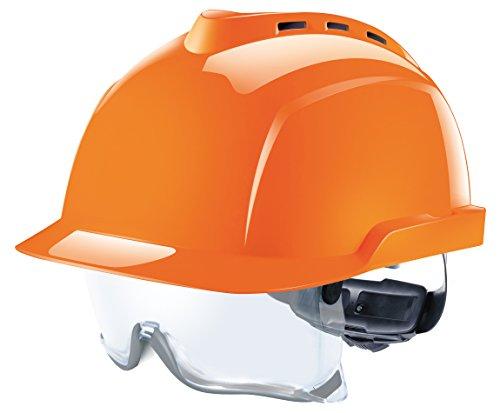 MSA V-Gard 930 | Casco de Seguridad Industrial | DIN EN 397 | con Ventilación y con Suspensión de Rueda de Cremallera Fas-Trac | Incluyendo Gafas | Color: Naranja