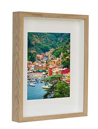 BD ART 28 x 35 cm 3D Box Bilderrahmen Eiche rustikal mit Passepartout 20 x 25 cm, Glasscheibe, Tief 3 cm
