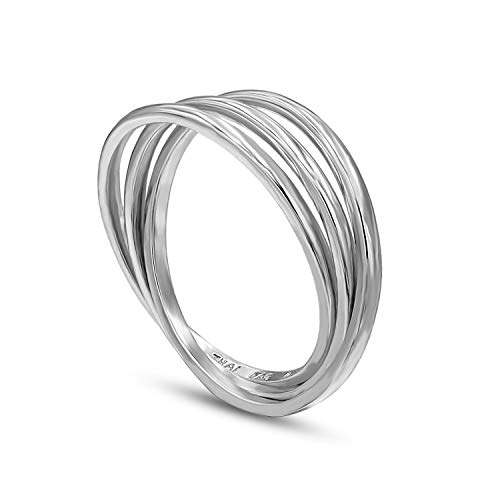 STONIQUE CREATIONS 925 Sterling Silver Triple Interlocked Rolling High Polish Wedding Band Ring silver
