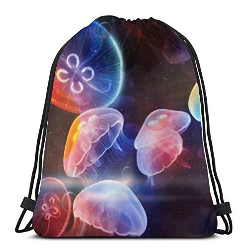 March flowers Rainbow Jellyfish Wallpaper Colorful Waterproof 3D Print Drawstring Backpack Rucksack Shoulder Bags Gym Bag for Adult 16.9\